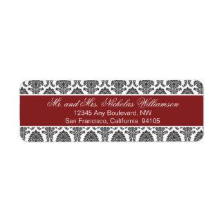 Etiqueta elegante del remite del damasco (roja) etiqueta de remite