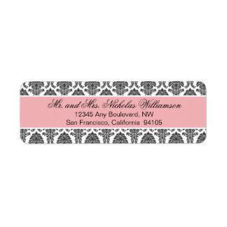 Etiqueta elegante del remite del damasco (rosa) etiquetas de remite