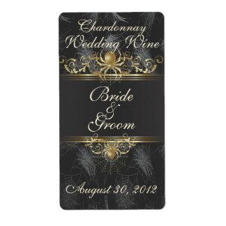 Etiqueta elegante del vino del boda de las arañas etiquetas de envío