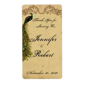 Etiqueta elegante del vino del boda del pavo real etiqueta de envío