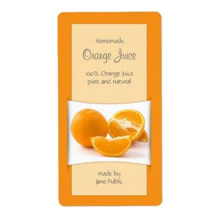 Etiqueta elegante del zumo de naranja etiqueta de envío