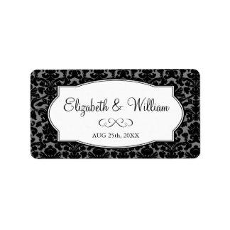 Etiqueta elegante gris negra del favor del boda de etiqueta de dirección