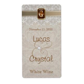 Etiqueta elegante preciosa del vino del boda del c etiqueta de envío