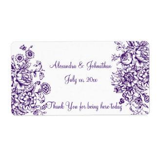 Etiqueta elegante púrpura y blanca del vino/del etiqueta de envío