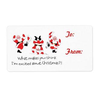 Etiqueta emocionada Santa del regalo del navidad d Etiqueta De Envío