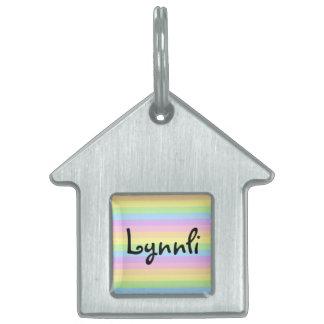 Etiqueta en colores pastel de la identificación placas de nombre de mascota