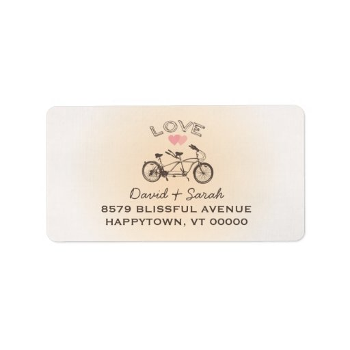 Etiqueta en tándem del amor de la bicicleta etiqueta de dirección