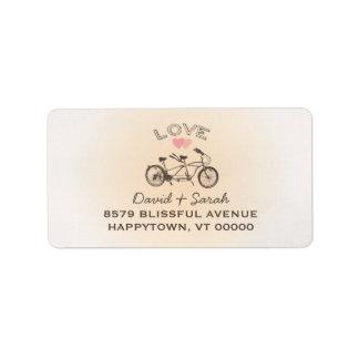 Etiqueta en tándem del amor de la bicicleta etiquetas de dirección