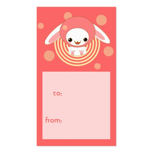 etiqueta encapuchada del regalo del conejito tarjetas de visita
