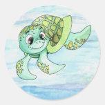 Etiqueta engomada 2 de la tortuga de mar