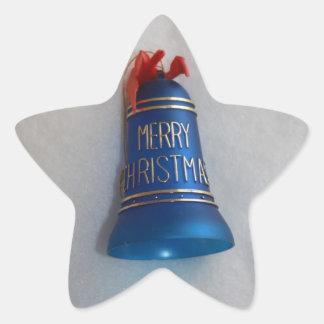 Etiqueta engomada azul de las Felices Navidad de