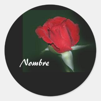 Etiqueta Engomada con Rosa Roja Classic Round Sticker