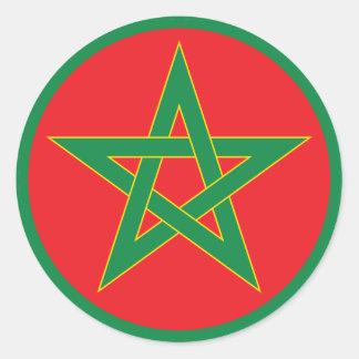 Etiqueta engomada redonda de la bandera marroquí