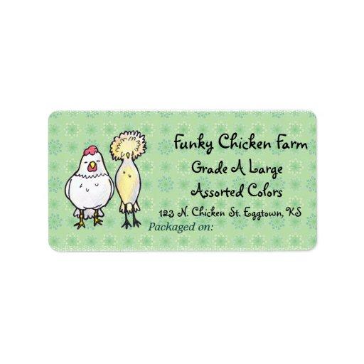 Etiqueta enrrollada del huevo de los pollos etiquetas de dirección