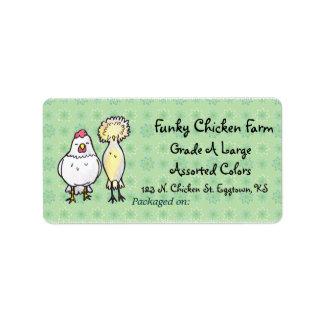 Etiqueta enrrollada del huevo de los pollos etiqueta de dirección