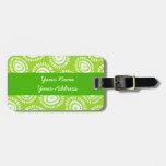 Etiqueta enrrollada verde preciosa del equipaje de