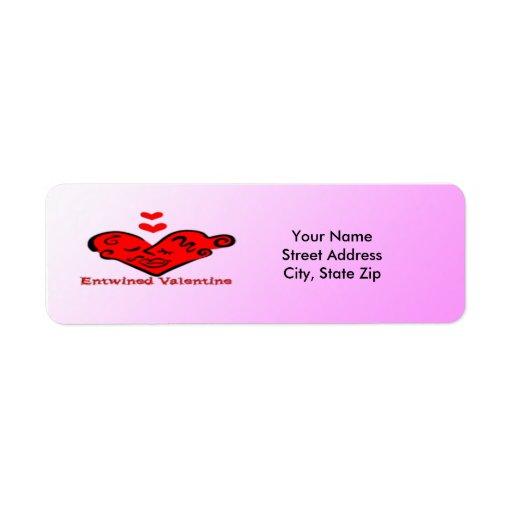 Etiqueta entrelazada del remite de la tarjeta del  etiquetas de remite