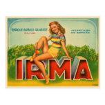Etiqueta española del cajón con la impresión verde tarjetas postales