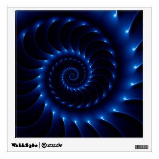 Etiqueta espiral azul brillante de la pared del vinilo adhesivo