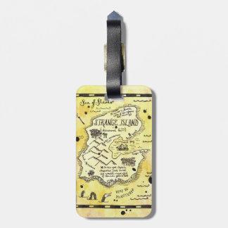 Etiqueta extraña del equipaje del mapa del tesoro