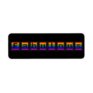Etiqueta fabulosa del arco iris etiqueta de remite