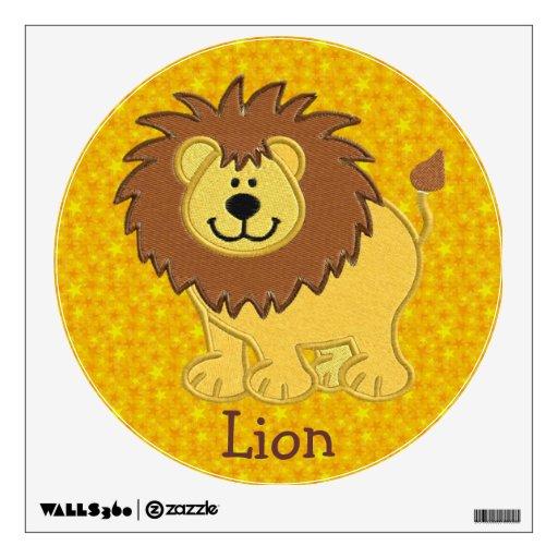 Etiqueta falsa linda de la pared del león del bord