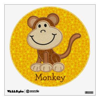 Etiqueta falsa linda de la pared del mono del vinilo