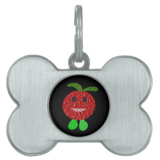 Etiqueta feliz del mascota del tomate placas mascota