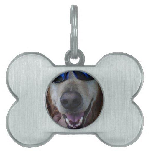 Etiqueta feliz del perrito placa de mascota