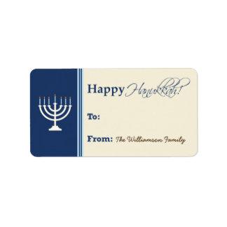 Etiqueta feliz del regalo de Jánuca Menorah (azul Etiqueta De Dirección