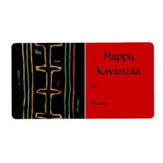 Etiqueta feliz del regalo de Kwanzaa Etiquetas De Envío