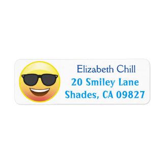 Etiqueta feliz del remite de Emoji de las gafas de Etiquetas De Remite
