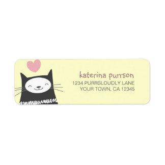 Etiqueta feliz del remite del gato de Kawaii Etiqueta De Remite