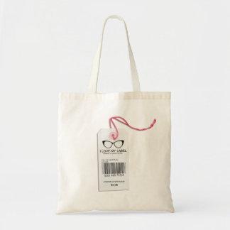 Etiqueta femenina del friki bolsa tela barata