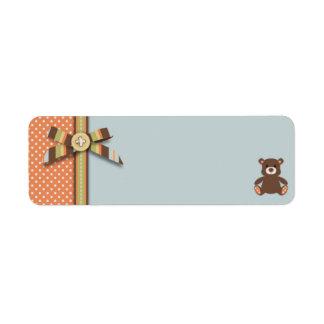 Etiqueta flaca 4 del regalo del muchacho del oso d etiqueta de remitente
