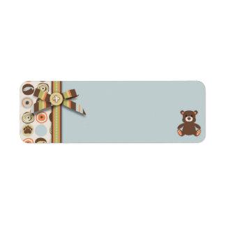 Etiqueta flaca del regalo del muchacho del oso del etiqueta de remitente