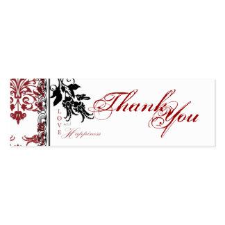 Etiqueta flaca roja del regalo del brocado TY Tarjetas De Visita Mini