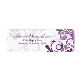 Etiqueta floral abstracta del remite del boda etiquetas de remite