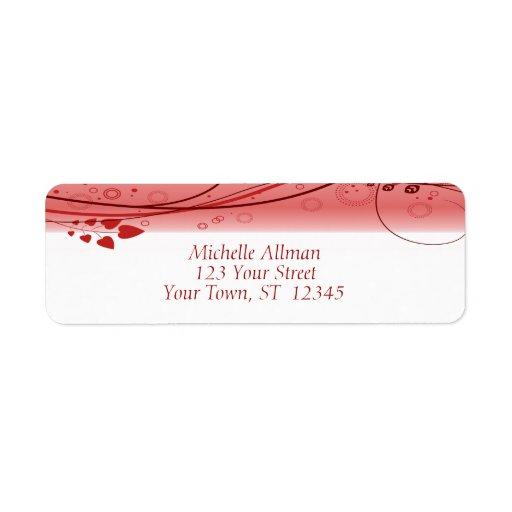 Etiqueta floral abstracta roja de los remolinos etiqueta de remite