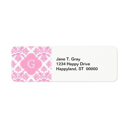 Etiqueta floral blanca rosada grande del monograma etiquetas de remite