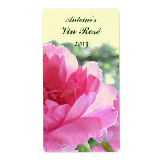 Etiqueta floral color de rosa rosada del vino etiquetas de envío