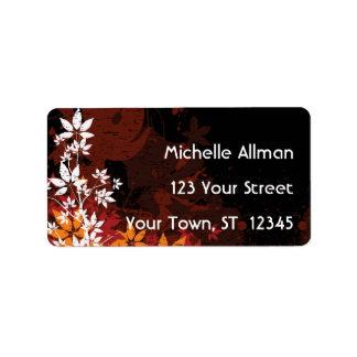 Etiqueta floral de Avery del otoño Etiquetas De Dirección