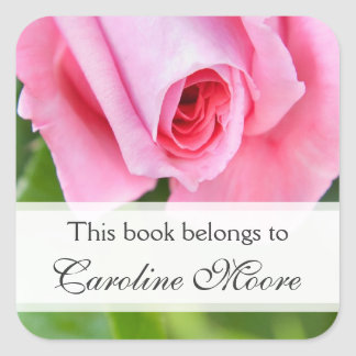 Etiqueta floral de encargo color de rosa rosada