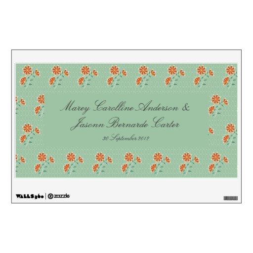 Etiqueta floral de la bandera del boda del batik d