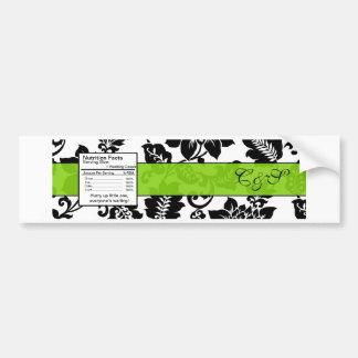 Etiqueta floral de la botella de agua del damasco  pegatina para auto