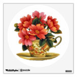 Etiqueta floral de la pared de la taza y del plati