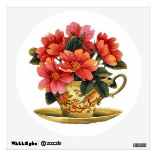 Etiqueta floral de la pared de la taza y del plati vinilo adhesivo