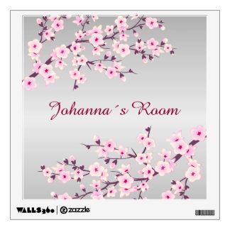 Etiqueta floral de la pared de las flores de vinilo adhesivo