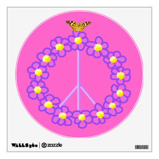 Etiqueta floral de la pared del signo de la paz de