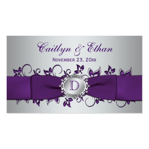 Etiqueta floral de plata púrpura del favor del tarjetas de visita